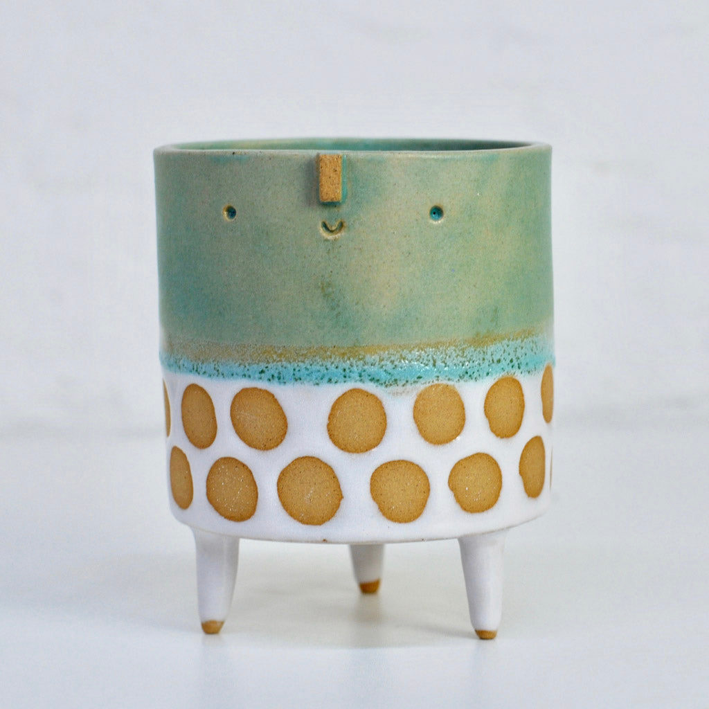 Medium Tripod Pot - Matt Green Shiny White Spot