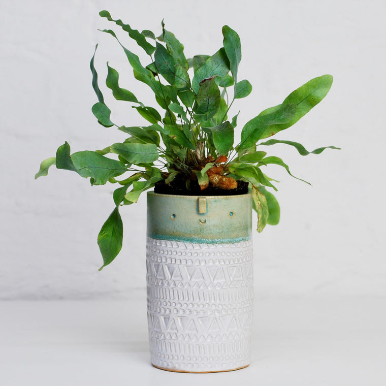Tall Plant Pot - Turquoise Green & White Stamped