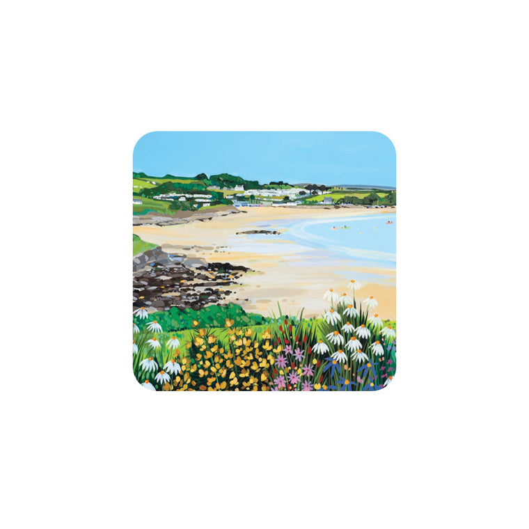 Traeth Bychan Flowers Coaster by Janet Bell