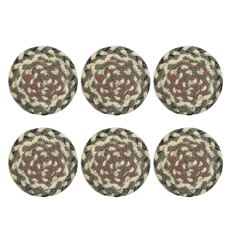 Coasters in a Basket - Set of 6 Granite