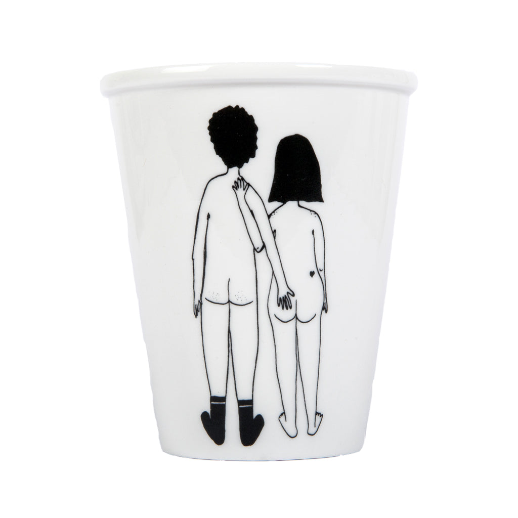 Porcelain Beaker - Naked Couple Back