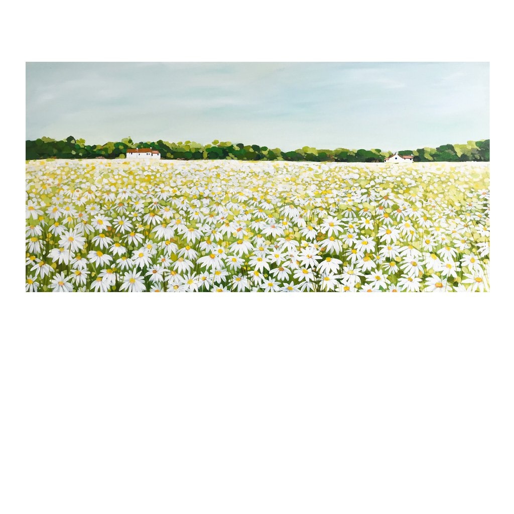 Field of daisies - Original painting by Janet Bell