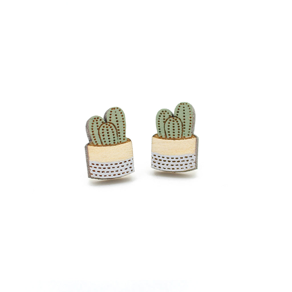 Pot Plant Earrings - Grey