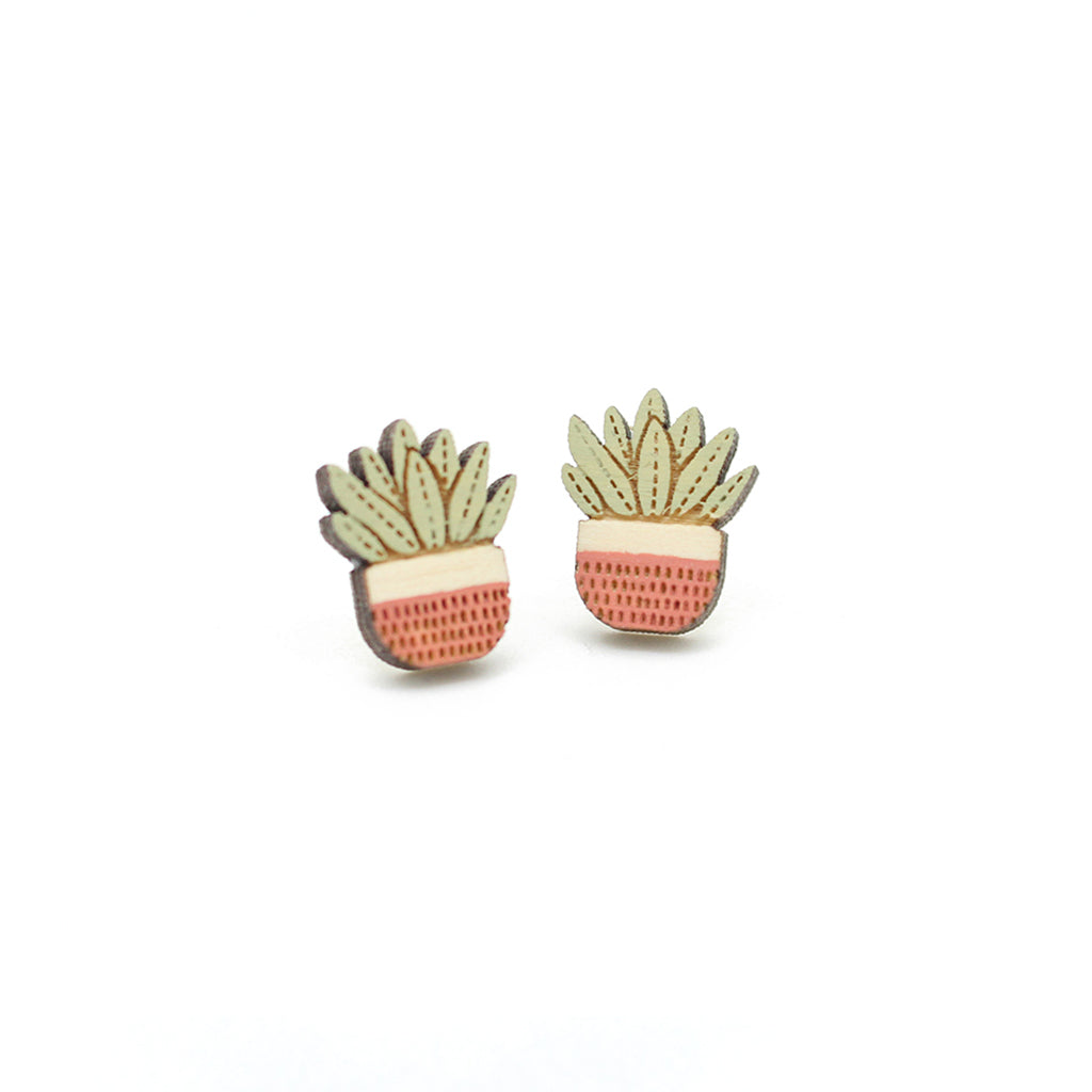 Pot Plant Earrings - Pink