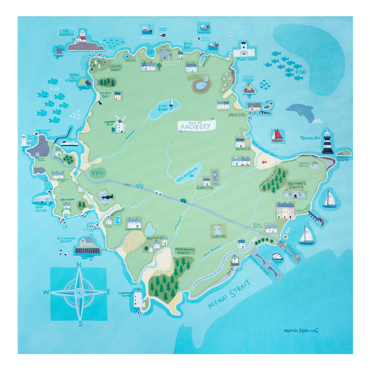 Sasha Harding Anglesey Map - Limited Edition Print on Paper