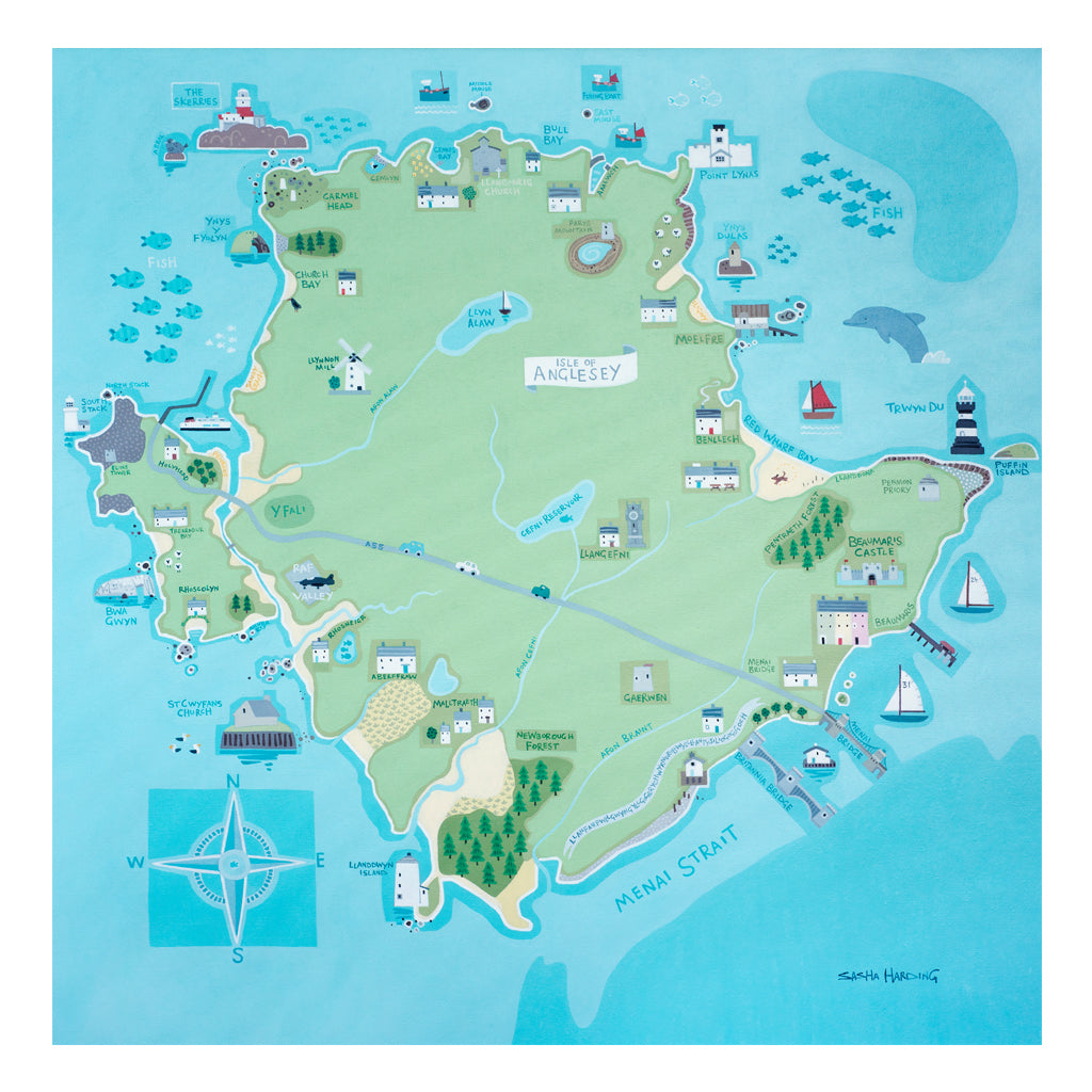 Sasha Harding - Anglesey Map (print on canvas)