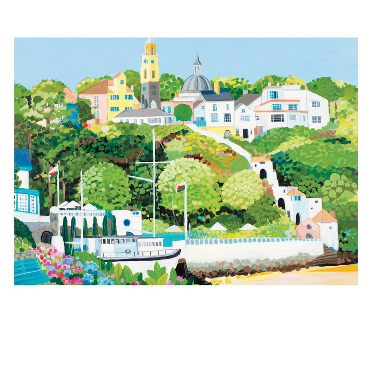 Portmeirion Village Postcard by Janet Bell