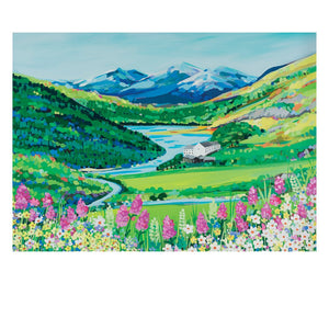 Snowdon Flowers Postcard by Janet Bell