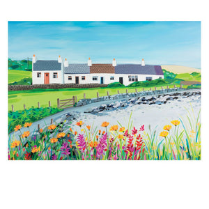 Coastal Cottages Postcard by Janet Bell