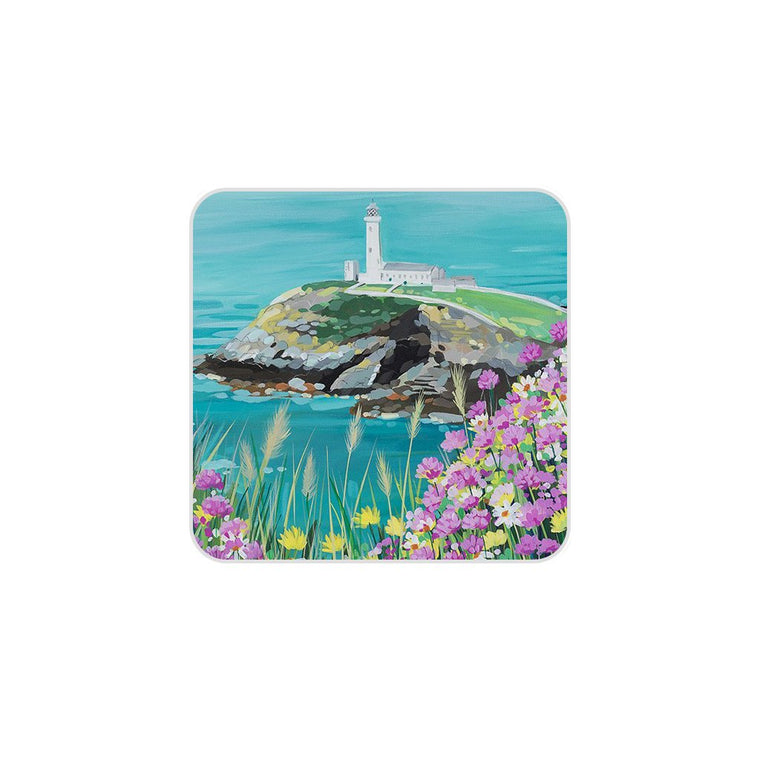 South Stack Flowers Coaster by Janet Bell