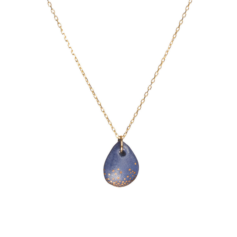 One & Eight Blue & Gold Mist Raindrop Necklace