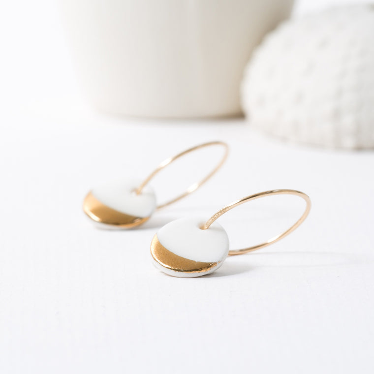 One & Eight Gold Dipped Hoop Earrings