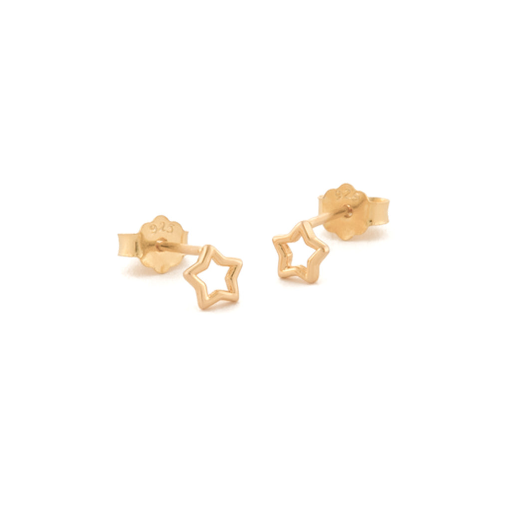 Gold Open Star Studs