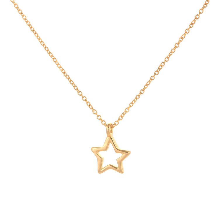 Gold Open Star Necklace