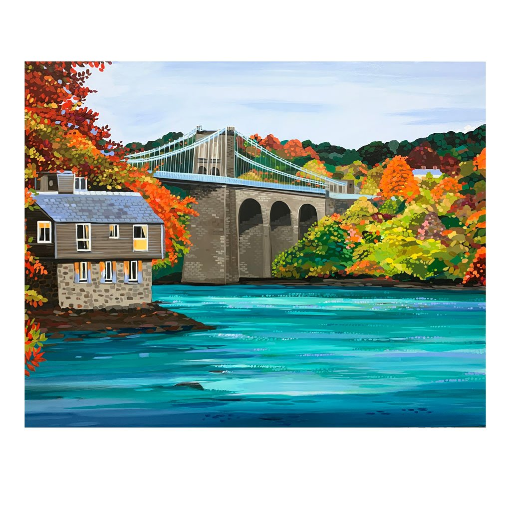 Autumn Bridge - Original Painting by Janet Bell