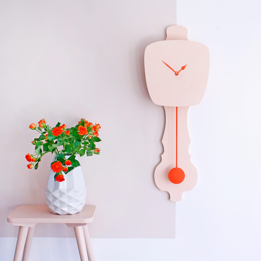 Wall Clock - Peach Pastel & Neon Orange