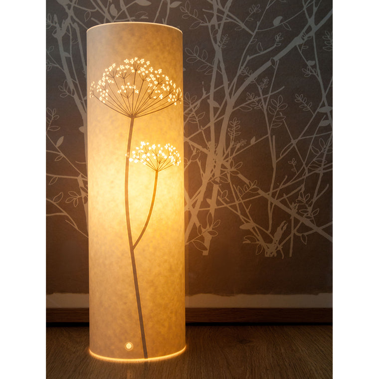 Tall Cylindrical Table Lamp - Cow Parsley