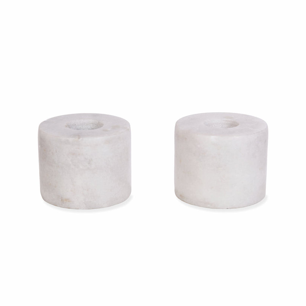 Burleigh Candle Holders - White Marble