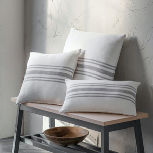 Hampnett Stripe Cushion 60x60cm - Grey Linen