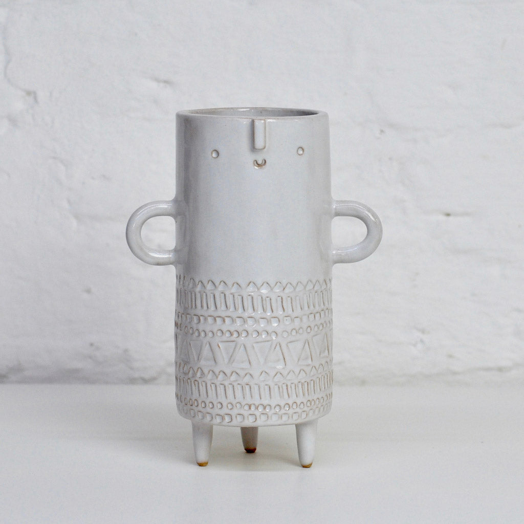 Tall Tripod Vase - White Stamped