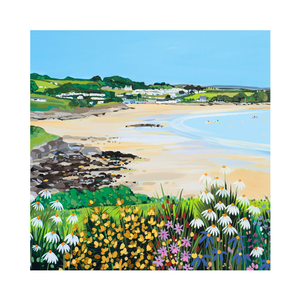 Traeth Bychan Flowers Card by Janet Bell