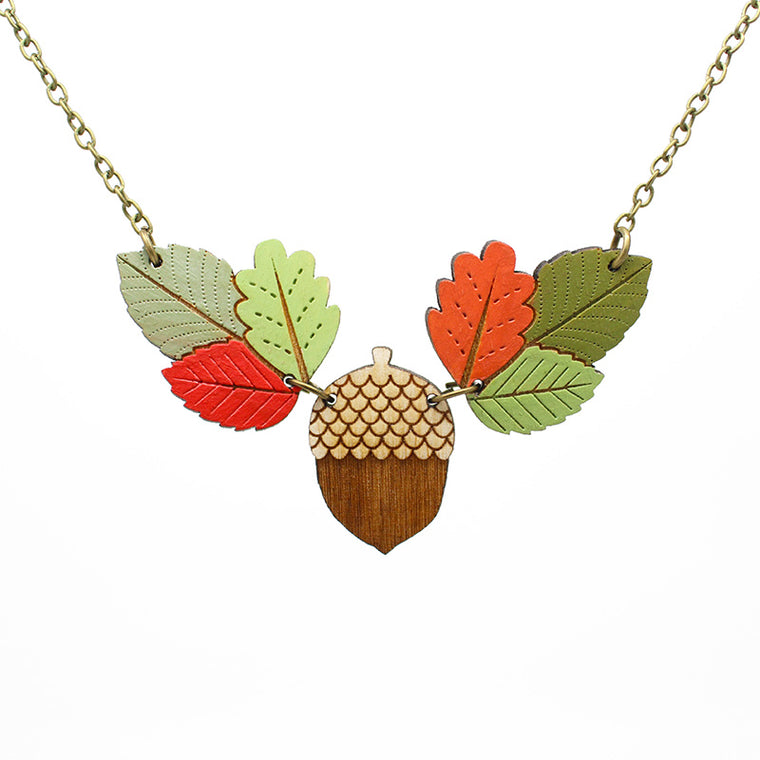 Autumn Leaves & Acorn Necklace