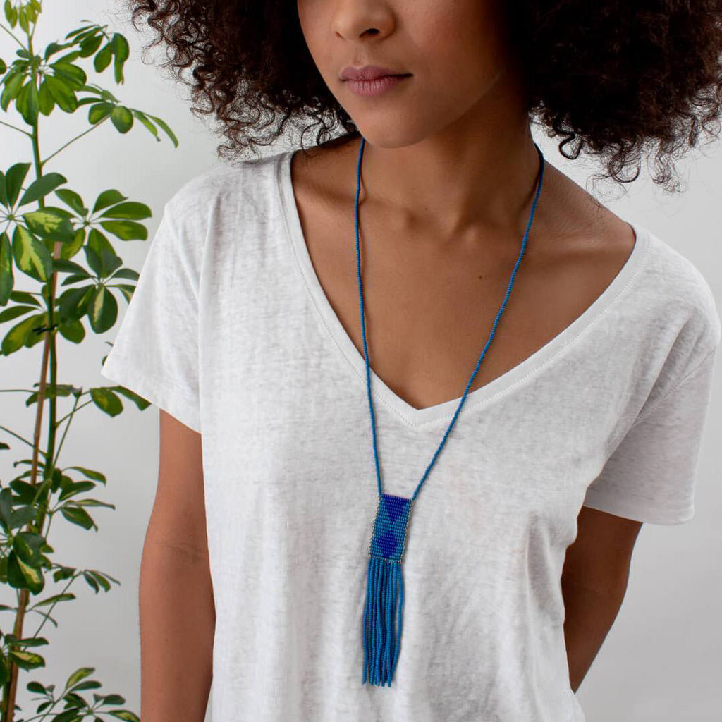 Melako Necklace Dusky Blue & Cobalt