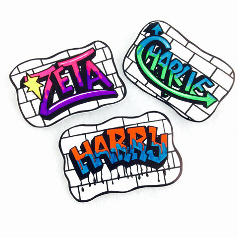 Custom Graffiti name pin badge