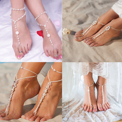 Bridal Barefoot Sandals Rhinestone Anklet Chain Wedding Beach Foot Jewelry Women Gift