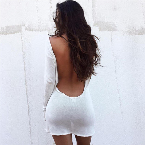 Cotton Knitted Autumn Full Sleeve White Dress Sheath Backless Stylish Sweater Party Mini Nightclub Dresses