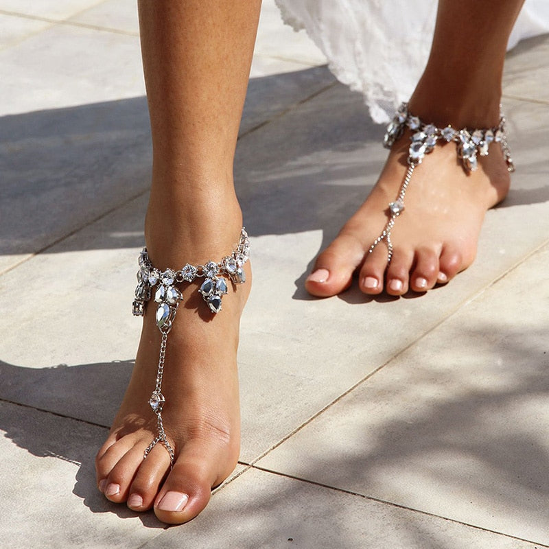 Crystal Water Drop Rhinestone Anklet Barefoot Sandal Foot Chain Toe Ring Beach Ankle Women Jewelry