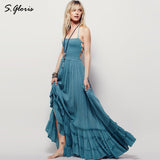 Beach Dresses Bohemian Summer Long Backless Cotton Party Hippie Chic Vestidos