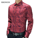Luxury Brand Men Formal Shirts Long Sleeve Floral Shirt Tuxedo Shirt Designer Shirts Plus Size