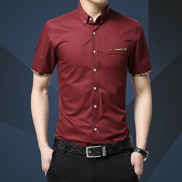Men Shirts Turn-down Collar Slim Fit Chemise Casual Summer Business Shirt Short Sleeve