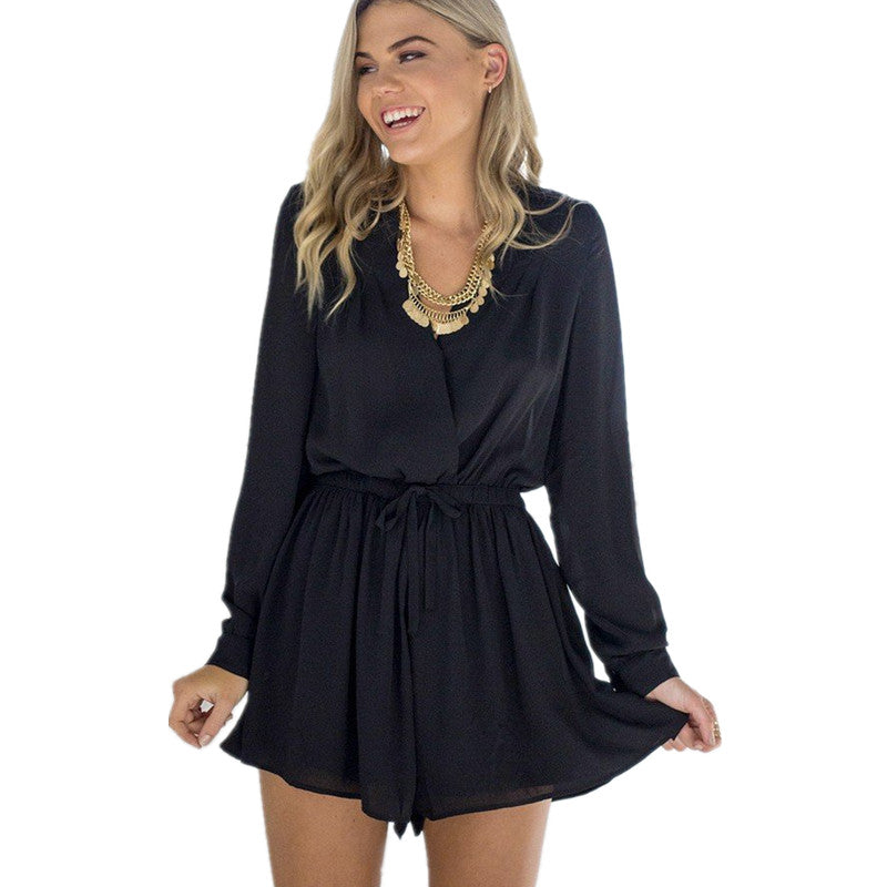Women Summer Casual Short V Neck Long Sleeve Back Hollow Out Black Rompers Jumpsuit Combination