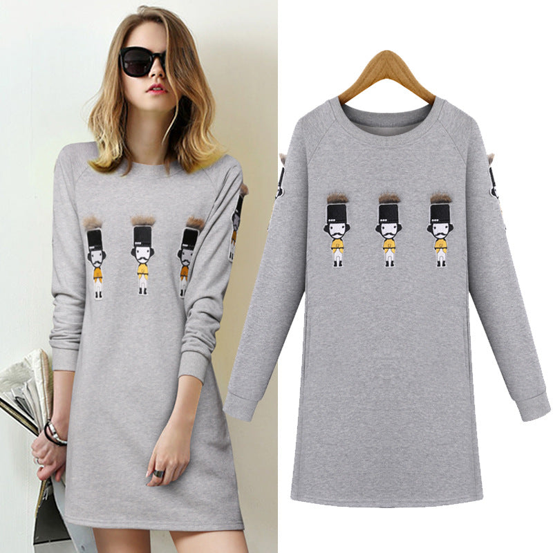 Spring Autumn Long Section Loose Long-sleeved Dress Villain Pattern Printing Dress