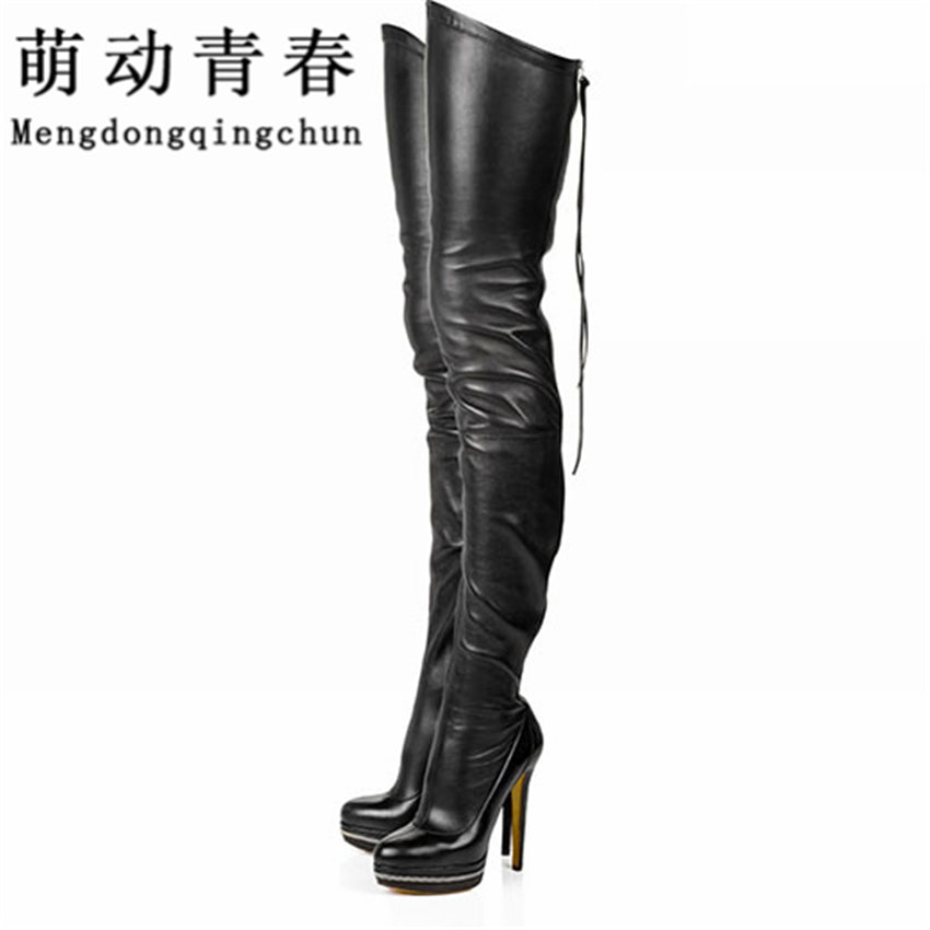 Women Boots Stretch PU Leather Over Knee High Party High Heels Platform Shoes Black
