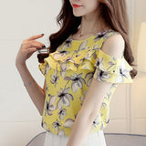 Women Off Shoulder Short Sleeve Blouses Print Floral Chiffon Shirts Casual Ladies Blouse Tops