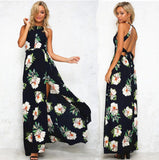 Summer Women Off Back Floral Printed Floor Length Casual Beach Chiffon Dress