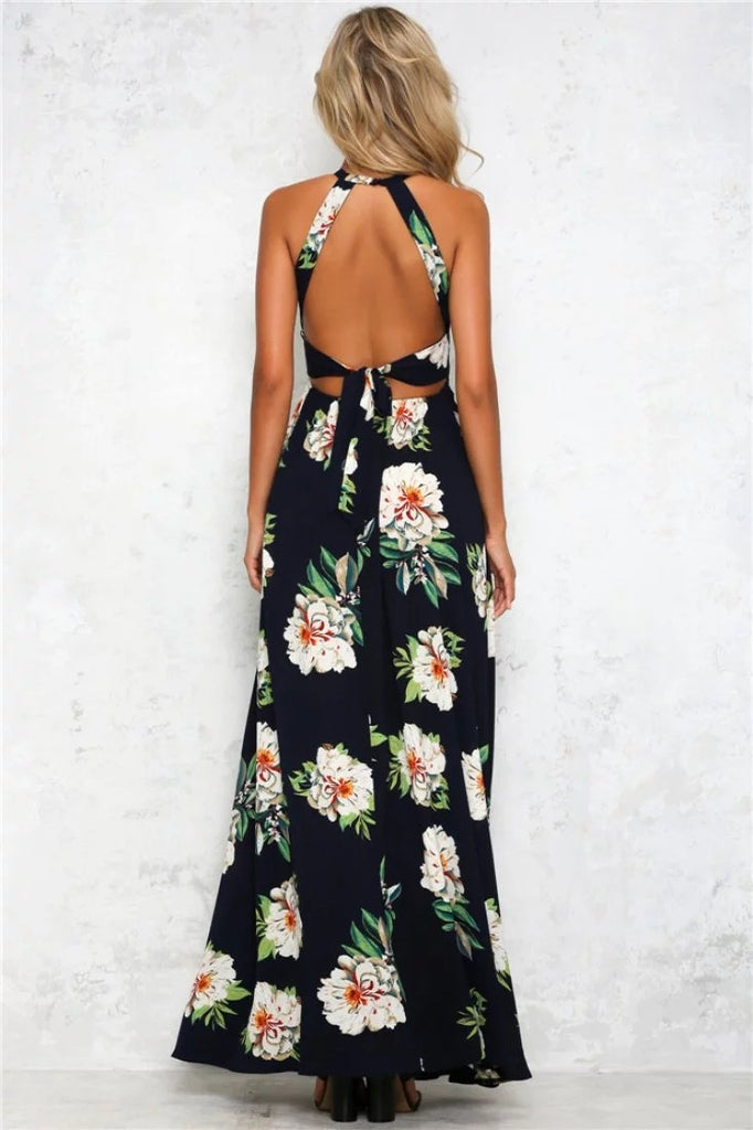2f9b3797748 ... Summer Women Off Back Floral Printed Floor Length Casual Beach Chiffon  Dress ...