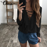 Spring Summer Women Chiffon Blouse Lace Up V Neck Ruffles Long Sleeve Black White Tops Casual Plus Size Shirts