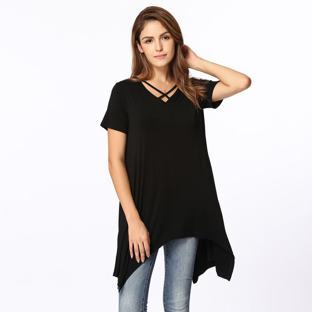 Korean Summer Plus Size T Shirt Women Asymmetric V Neck Loose Casual Basic Tunic Tops T Shirt