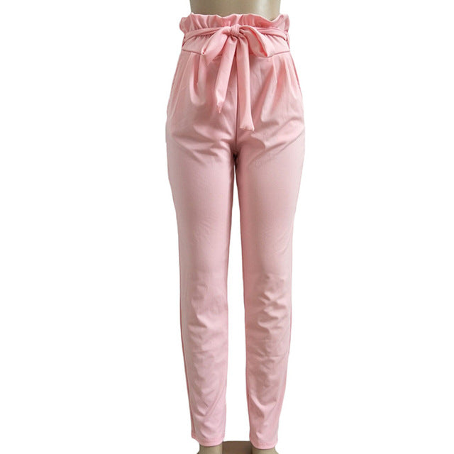 Chiffon Casual Trousers High Waist Harem Pants Bow Tie Drawstring Sweet Elastic Waist Pockets Pencil Pants
