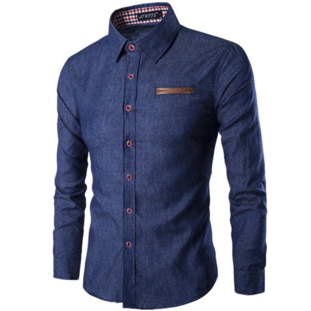 Men Shirt Pocket Fight Leather Shirt Long Sleeve Slim Fit Camisa Casual Male Shirts
