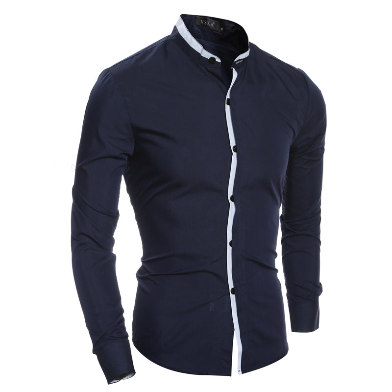 Men Shirt Slim Casual Solid Color Long-Sleeve Shirt Slim Fit Chemise Camisa