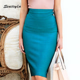 Pencil Skirts Women Winter Bodycon Bandage Rayon Stretch Knee Length Celebrity Party Midi Skirts