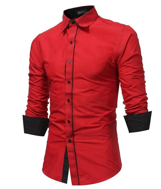 Men Shirt Spring Long Sleeve Turn-Down Solid Shirts Casual Shirts Regular Slim Fit Cotton Button