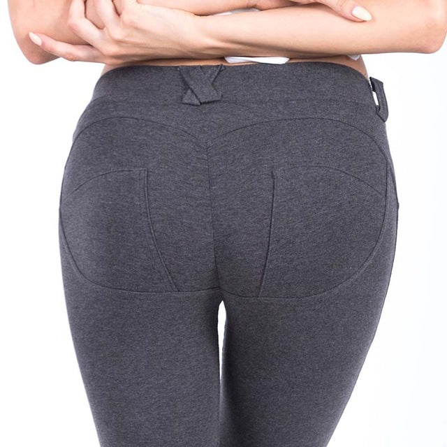 Women Adventure Leggings Low Waist Push Up Hip Solid Trousers Elastic Leggings