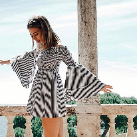 Women Dresses Summer Off Shoulder Sleeve Ruffles Striped Casual Party Mini Dresses