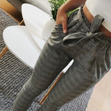 Casual Elegant Houndstooth Plaid Pants Pockets Retro Office Lady Wear Casual Sash Trousers